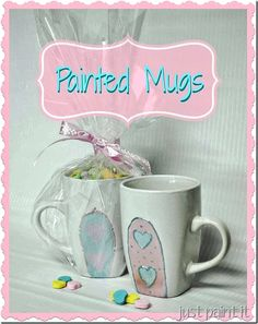 Make cute hand painted Valentine's Day Mugs @savedbyloves