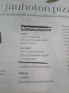 Jauhoton pizza. Ohje.  Muokattu vegaaniksi.  Pizza ``vegan``  Cosmopolitan Finland magazine