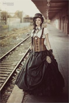 "steampunkclothingace: ""Waiting for the locomotive… - Follow Us: http://steampunkclothingace.tumblr.com """