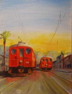 On a Long ago Los Angeles Street, two Pacific Electric Blimps pass in opposite directions. The Pacific Electric once operated a vast electric railway network in Southern California. A small number of the Pacific Electric cars survive in museums, but the great enterprise itself is gone forever. Painting by Chris Jenkins. It is available at www.silverrailsshop.com