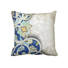 Unique, trendy, decorative and pretty pillow. Beautiful vintage paisley flowers pattern. Antique style floral print in light and dark blue, orange, and aqua turquoise. Ornate, romantic, retro art deco design for the decor trend setter, or nouveau victorian motif lover. Cute girly girl's, kid's, mom's birthday present, Mother's day, or Christmas gift. Original, cool and fun pillow for the master or children's bedroom, nursery, living or family room, beach house or vacation home.