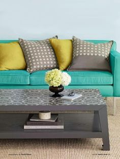Bored with Your Decor? Try Something New! - Colored Upholstery - ditch your neutral sofa for a vibrant upholstered piece, which will bring a sleepy room to life!