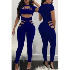 7e08330d8e3 USD10.99 Sexy Round Neck Hollow-out Blue Polyester One-piece Jumpsuits  Wholesale