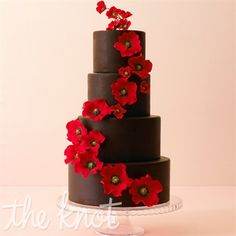 Red Floral Chocolate Wedding Cake