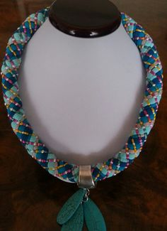 Statement kumihimo necklace by MoonbeamsTales on Etsy