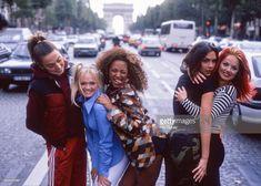 Spice Girls, portrait, in the street in Paris, France, 1996. L-R Mel C, Emma Bunton, Mel B, Victoria Adams, Geri Halliwell.