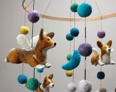 Fiber Friends | Felt Mobiles for Baby and Beyond: Corgis, kitties and more!