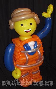 Everything is awesome!  Emmet from the Lego movie made out of balloons by balloon artist Phileas Flash