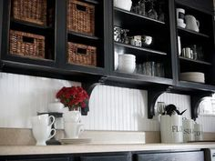 open black cabinets with white beadboard backsplash Black Kitchen Cabinets, Painting Kitchen Cabinets, Black Kitchens, Kitchen Paint, Kitchen Redo, New Kitchen, Kitchen Interior, Home Kitchens, Kitchen Dining