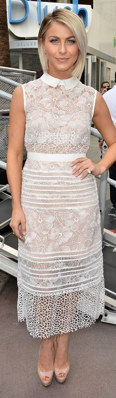 Who made  Julianne Hough's white lace dress, nude pumps, and jewelry that she wore in Hollywood on October 14, 2014