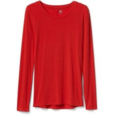 Gap Women Maximum Heat Long Sleeve Crew Tee ($30) ❤ liked on Polyvore featuring tops, t-shirts, holly berry, regular, gap t shirts, gap tees and gap tops