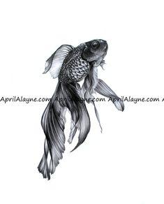 Tatoo Knöchel - Spiders Tutorial and Ideas Goldfish Tattoo, Betta Fish Tattoo, Tattoo Wallpaper, Abstrakt Tattoo, Art Aquarelle, Fish Print, Art Drawings Sketches, Ink Art, Body Art Tattoos