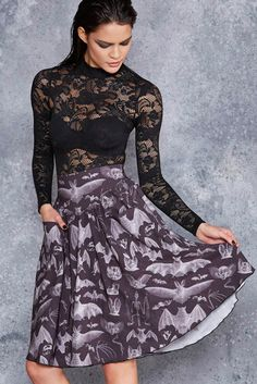 Gone Batty Yoke Midi Skirt - LIMITED ($99AUD) by BlackMilk Clothing