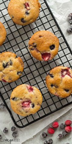 These Fruit Explosion Muffins are loaded with strawberries and blueberries (or any berries you want!) and have a strawberry jam surprise inside! They are made with whole wheat flour and sour cream makes them extra moist.