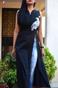 Buy Black Cotton Silk Embroidered Slit Kurti Online in India | Colorauction