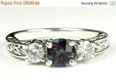 Summer Sale, 30% Off, SR254, 6mm Mystic Fire Topaz w/ Two 4mm CZ Accents, 925 Sterling Silver Engagement Ring