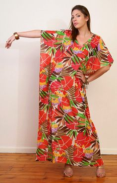 LOTUS BLOSSOM long cotton kaftan dress in mushroom, coral, green. Lounge wear, beach cover up or summer dress gift for her.