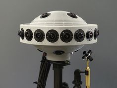 Jaunt VR Camera; built for capturing footage to view on an Oculus Rift. It packs 28 cameras—20 around its perimeter, four on the top, and four on the bottom—capturing 3.5 gigapixels per second.