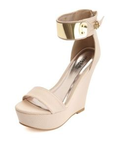 bb346b58b52 metal-plated single strap platform wedge. Love and need!