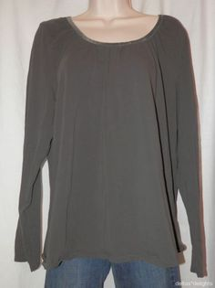 J. JILL TOP XL Solid Brown Velvet Trimmed Tee Long Sleeve Scoop Neck Ladies Knit
