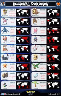 Wondering where to find that Regional Pokémon missing from your Pokédex? This guide will show you where all the current regionals reside! Pokemon Guide, Pokemon Memes, All Pokemon, Pokemon Cheats, Pokemon Go Egg Chart, Pokemon Go Evolution, Pokemon Locations, Pokemon Especial, Pokemon Regions