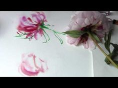 HOW TO PAINT PINK PEONIES WITH INK AND WATERCOLORS - YouTube