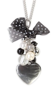 Deb Shops long necklace with #heart and #polka #dot #bow charms