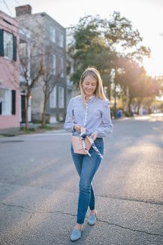 dacde7461237 Everyday outfit ideas with jeans + how to style skinny jeans for work |  Rhyme &