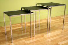 Living Room Furniture :: Table Sets :: Deo Black Leather Nesting Table - Bachelor Furniture: Bar Furniture, Dorm Furniture, Apartment Furniture