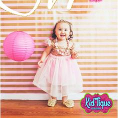 KidTique of Mcallen gold pink sequin dresses all in 1st birthday chunky necklaces cute shoes shabby chicness