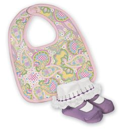 Paisley print 100% cotton knit bib is paired with 6-12 month knit lavender Mari Grace booties in this adorably coordinated boxed gift set.  simply #adorable  www.TheShoppingBagStore.com