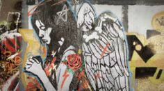 UK Street Art and Culture website started in 2001 featuring street art and graffiti news, exhibitions, prints, book releases and anything else that grabs our attention. Shutter Angel, Graffiti Quotes, Grunge Art, Painted Doors, Lynx, Amsterdam, Street Art, Wings, Culture