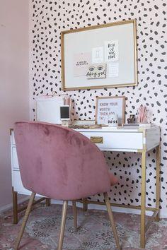 dalmation pattern, mauve velvet chair, gold accents
