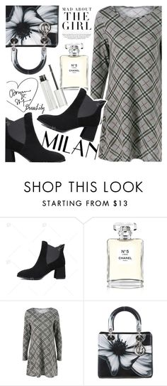 """""""Plaid Dress"""" by vanjazivadinovic ❤ liked on Polyvore featuring Chanel, Christian Dior, Kershaw, Givenchy, dresslily and polyvoreeditorial"""