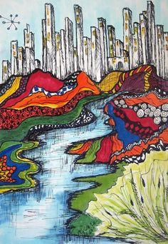 City Meets Nature Doodle Art Art Print