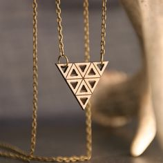 Etched and Cut Out Wood Triangle Necklace by Diamonds Are Evil