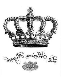 Crown Mirrored Image, Ready for Transfer! Be Royal. Vasos Vintage, Vintage Diy, Vintage Labels, Vintage Ephemera, Vintage Cards, French Images, Images Vintage, Foto Transfer Potch, Crown Tattoo Design