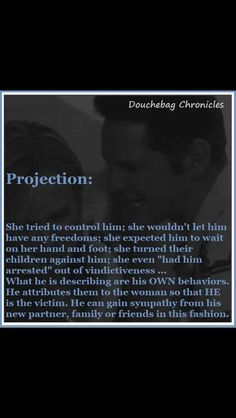 Narcissists are notorious for using projection.  This is their favorite tool.  They use it to blame their partner for actions/beliefs that they are actually guilty of and then use it to play victim and gain sympathy from others.  Often, the narcissist really believes what he has projected onto their partner is true.  This is one reason it is so hard to get professional help for a narcissist.
