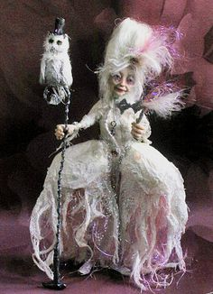 Rococo OOAK Art Doll  Fantasy Sculpture with owl  by Studionicol, $240.00