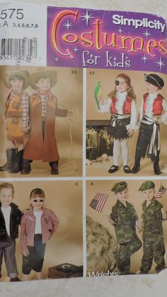 Cowboy Pirate GI Joe Cowgirl GI Jane Rock a Billy Halloween Simplicity 0575 / 4918 Costume Pattern Sz. 3 - 8 Sewing Patterns For Kids, Cool Patterns, Vintage Sewing Patterns, Halloween Costume Patterns, Halloween Costumes, Gi Jane, Raggedy Ann And Andy, Stage Play, Cross Stitch Designs