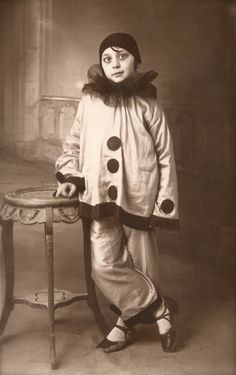 1920s Original Vintage RARE French Real Photo Postcard RPPC from Paris… Fancy Carnival Studio Portrait Young Girl in Pierrot Clown Costume