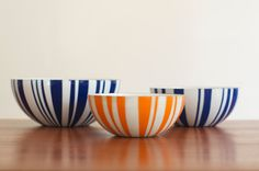 Rare Mid Century Cathrineholm Striped Enamelware Bowls - Set of 3. $285.00, via Etsy.