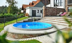 The own pool area in the countryside: the perfect place to relax. # relax - All About Above Ground Pool Landscaping, Small Backyard Pools, Small Pools, Surf Pool, Stock Tank Pool, Water Features In The Garden, Plunge Pool, Backyard Retreat, Garden Living