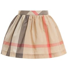 BURBERRY Beige Classic Check Cotton Skirt