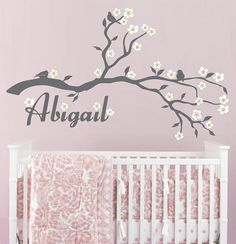 Cherry Blossom Branch and Custom Name Vinyl Wall by InAnInstantArt, $44.00