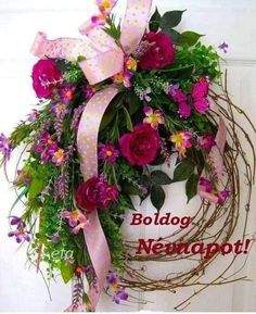Good Morning Flowers, Name Day, Holidays And Events, Grapevine Wreath, Grape Vines, Floral Wreath, Happy Birthday, Wreaths, Plants