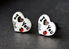 I LOVE YOU Cuff Links  Heart Cufflinks  Quote by CleopatraNYC, $48.00