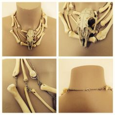 © the number thirteen //// Real rabbit skull and real chicken bones necklace.