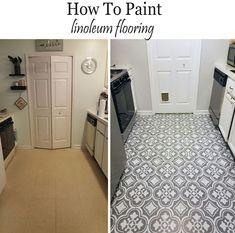 linoleum flooring How to paint linoluem flooring to look like cement tiles, floor paint Home Decor Inspiration, Painted Floors, Stenciled Floor, Kitchen Sink Interior, Paint Linoleum, Cement Tile, Flooring, Flooring Options, Clean Linoleum Floors