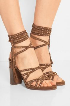 Heel measures approximately 90mm/ 3.5 inches Brown suede Ties at ankle Designer color: Luggage Imported